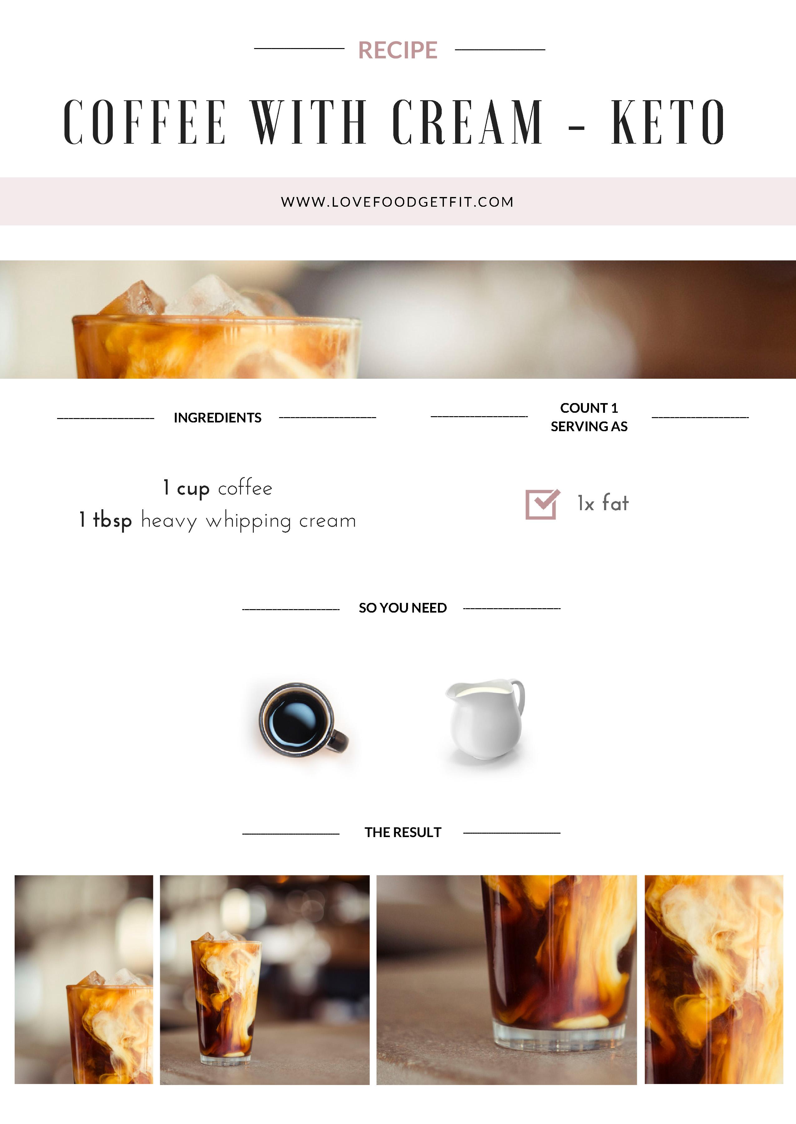 coffee with cream recipe card